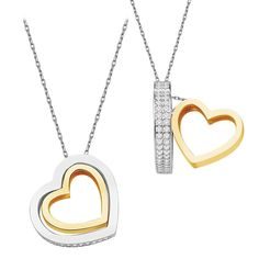 925 Sterling Silver Zircon Stone Gold Color Plating Heart Necklace
