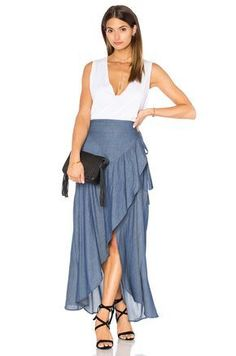 Shop for Stillwater Wrap Sum Den Skirt in Indigo at REVOLVE. Free day shipping and returns, 30 day price match guarantee. Vestidos Country, Jupe Skater, Indigo, Jeans Rock, Schneider, Revolve Clothing, Dance Dresses, Fashion Outfits, Womens Fashion