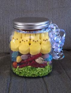 Filled eggs for an easter care package for college students easter basket in a jar pinner said i just made this to send to my college son remember for college students photo inspiration only negle Choice Image