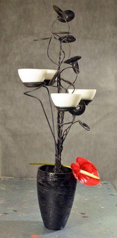 Portacandela Fil di Ferro, Ceramica e Candela Profumata in Cera - Artigianato Handmade: Fatto con Passione #design #candles #candleholder #candele #portacandele #ferro #fildiferro #artigianato #roma