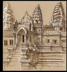 Angkor Wat. My field sketches are done standing up using Tombo watercolor pens and typographers white correction pens. Gave up on watercolors long ago.