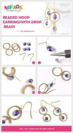 beaded hoop earrings with drop beads
