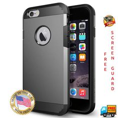 Spigen GUNMETAL iPhone Case Cover - GUN METAL Apple iPhone 6 6s - Free Screenguard & Cleaning Kit (Just Pay Shipping)