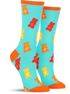 Colorful Gummy Bear Food Socks for Women, aquamarine Silly Socks, Funky Socks, Crazy Socks, Cute Socks, Colorful Socks, My Socks, Happy Socks, Awesome Socks, Food Socks