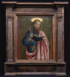 the saint holds his symbolic attribute, a flaying knife. (Princeton University Art Museum), note the frame joinery Museum Of Fine Arts, Art Museum, Boston Museums, St Barts, European Paintings, National Gallery Of Art, Lost Art, Indian Gods, Art Themes