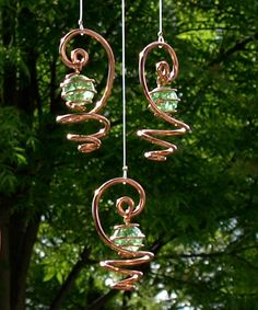 Solid Copper Green Crakled Glass Mobile Suncatcher by TwistsOnWire