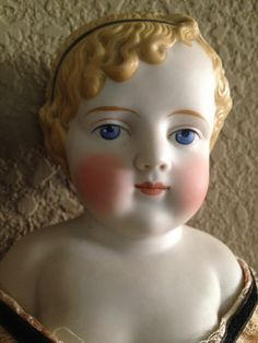 Antique German Bisque Doll by Simon and Halbig with Molded and Decorated Hair