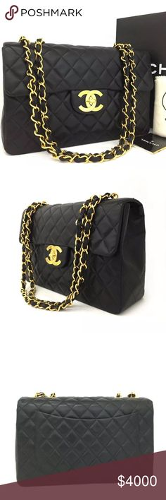 Chanel Maxi Quilted Matelasse  Lambskin Bag Authentic. Vintage. Very good condition. Chain is still shiny and leather looks oks great. There are a few very tiny dents on the leather. Comes with dust bag, box and booklet.  ****not returnable once the tag is removed CHANEL Bags Shoulder Bags