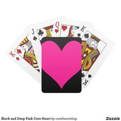 Black and Deep Pink Cute Heart Poker Cards