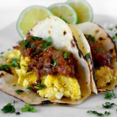 """Carnitas Breakfast Tacos"" to start your day right"