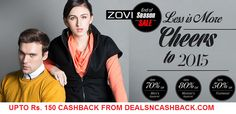 End of season sale upto 80% off on fashion at zovi + get Rs. 150 cashback on your purchases at the store from dealsncashback.com