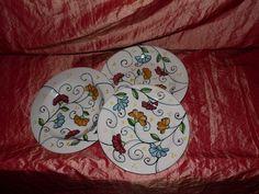 Servizio di piatti, interamente dipinti a mano – servizio composto da 6 pz