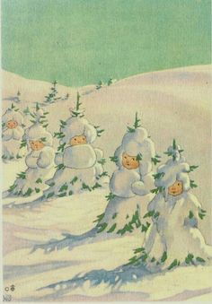 Illustration by Elsa Beskow. Little snow babies. Old Christmas, Victorian Christmas, Retro Christmas, Vintage Christmas Cards, Vintage Holiday, Christmas Pictures, Vintage Cards, Vintage Postcards, Christmas Trees