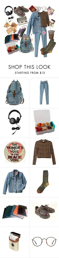 """First day of school"" ❤ liked on Polyvore featuring Sourpuss, Monki, Levi's, Kapital, Dr. Martens, Forum, Kensington Road, outfit, grunge and art"
