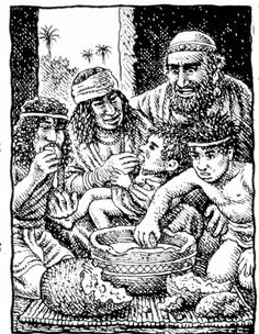 Robert Crumb - The story of Joseph & his brothers - Joseph provides for all his family (Genesis 47:12)