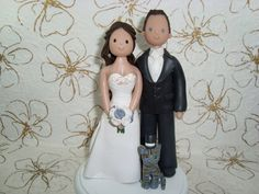 Personalized Bride & Groom with a Cat Wedding Cake Topper on Etsy, $130.00