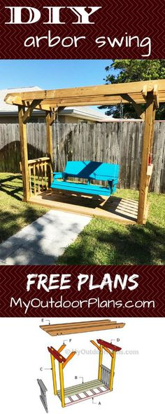 DIY Arbor swing plans for you to build an amazing relaxation area in your backyard. Full plans at: M Easy Wood Projects, Woodworking Projects Diy, Outdoor Projects, Woodworking Plans, Popular Woodworking, Woodworking Apron, Woodworking Store, Woodworking Machinery, Woodworking Furniture