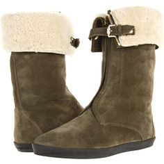 Burberry Shearling Lined Suede Weather Boots Khaki - Zappos Couture