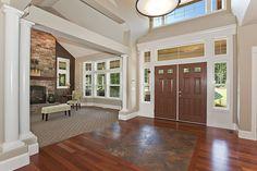 Choice Construction, Remodel, Custom Homes, Gig Harbor, Front Entry, Foyer, Wood Floors, Tile Floors, Living Room, Stone Fireplace