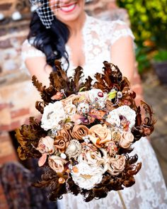 Bouquet is made of fabric flowers and brooches! So you can keep it forever.