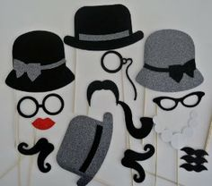 Items similar to Mad Men Inspired Photo Booth Props Weddings 16 pc Grey Hats with Black Trim on Etsy Photo Booth Party Props, Diy Photo Booth, Wedding Photo Booth, Photo Props, Themes Photo, Photo Deco, Kids Birthday Themes, Winter Wonderland Party, Mermaid Parties