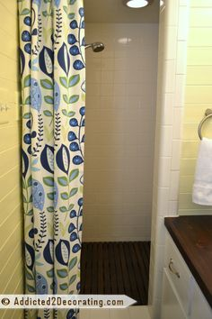 Removed Old Shower Door And Replaced With Curtain Added Cedar Floor Mat Condo Bathroom