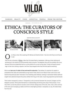 Thanks to VILDA magazine for the lovely feature on Ethica.