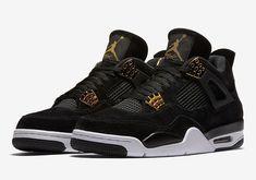 Nike Air Jordan 4 Retro Royalty IV Sz 4-12 Black Suede Metallic Gold 308497 98e5a0d77