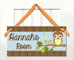 baby girl sweet owl bedroom sign  kids room door sign by kasefazem, $8.99