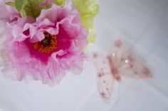 Close-up of pink flowers above a butterfly. Pink. Photo Credit : A. Mordant - Click to read full instructions on how to do here: http://www.wedotahiti.com/how-to-decorate-a-winter-themed-table #tahitiweddingplanner #tahitiweddingpackage
