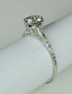 Simply Elegant Art Deco Engagement RIng by greenhilljewelers