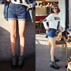 Qnigirls New Womens M'coff Denim Shorts Cute Lovely Style #Qnigirls #Denim