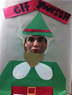 Last Christmas - Made an Elf Yourself for our office Christmas decorating. Cut a hole in cardboard covered in paper. Cut out outfit and paste. I had 2 paper rolls on each side to hold so your fingers/hands don't get in the picture. Camera/friends and click the photo.