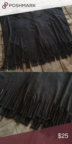 Faux-Suede Fringe Top Black, smooth, luxe, faux-suede, fringe...long top crop top fit. Brand new. Never worn. Forever 21 Tops Crop Tops
