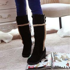 Womens Boots | Glamorous Black Suede Buckle Round Closed Toe Wedge Mid Heel Boots - Hugshoes.com