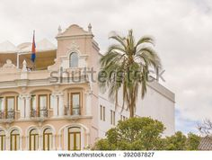 QUITO, ECUADOR, OCTOBER - 2015 - Low angle view of neoclassical style building at the historic center of Quito in Ecuador.
