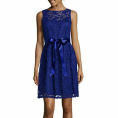 Royal Blue Fit And Flare Lace Cocktail Dress