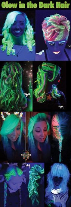 glow in the dark hair black light hottest trend for 2016 UV Reactive hair. This is not glow in the dark Hair Lights, Light Hair, Hair Color Dark, Dark Hair, Pelo Multicolor, Neon Hair, Hair Shows, Rainbow Hair, Crazy Hair