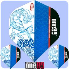 Dart Flights - One80 - Blue and White - Asia Collection - Std - Dragon  - http://www.dartscorner.co.uk/product_info.php?cPath=6_930_1151&products_id=10854