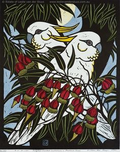 Sulphur Crested Cockatoos and Fuschia Gum by Leslie Vander Sluys