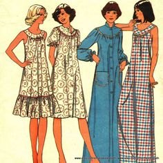 Vintage 1980s Sewing Pattern Night Dress and House Coat Medium Ladies. $6.00, via Etsy.