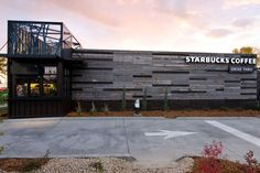 Expanded Metal used for screening on this new Starbucks. You can get expanded metal at Marco Specialty Steel Starbucks Store, Starbucks Coffee, Shipping Container Restaurant, Shipping Container Homes, Shipping Containers, Container Shop, Expanded Metal, Backyard Sheds, Houses