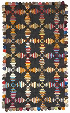 The American Museum in Britain » Log Cabin Quilt – Pineapple Variation, 1870s