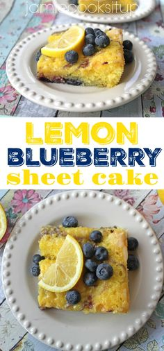 Lemon Blueberry Sheet Cake from Jamie Cooks It Up! The fresh flavor in this amazing cake is fabulous! Sheet Cake Recipes, Cupcake Recipes, Cupcake Cakes, Snack Recipes, Dessert Recipes, Cupcakes, Sheet Cakes, Snacks, Yummy Treats