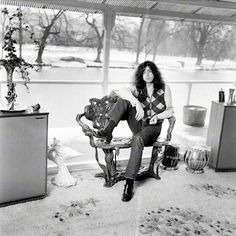 Jimmy Page at home on his boathouse in Pangbourne, 1970.