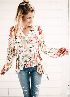 #winter #outfits flowery white top, jeans
