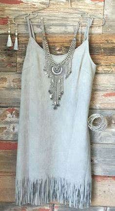 The My Best Fringe Dress in Grey is absolute perfection! With a lovely olive hue, fringe along the hemline, and suede feel, you will love how this dress looks and feels. The skinny straps are adjustab Country Fashion, Country Outfits, Boho Fashion, Fall Outfits, Autumn Fashion, Summer Outfits, Cute Outfits, Womens Fashion, Feminine Fashion