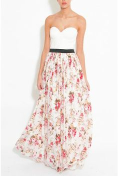 e631b62940ab White And Floral Bustier Maxi Dress From Rare London Gallakjoler