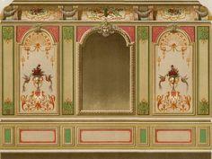 Décoration Ornement Style Louis XIV Architecture Lithographie originale XIXème