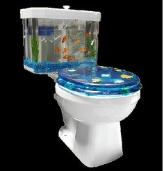 The Fish 'n Flush Toilet Tank Aquarium is the ultimate in potty training bribery. Who wouldn't want to spend hours in the bathroom if you have an aquarium on Aquarium Design, Aquarium Kit, Aquarium Ideas, Wall Aquarium, Betta Aquarium, Aquarium Stand, Inventions Sympas, Room Interior, Interior Design Living Room